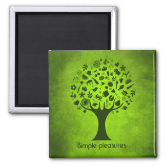 Simple Pleasures Tree 2 Inch Square Magnet