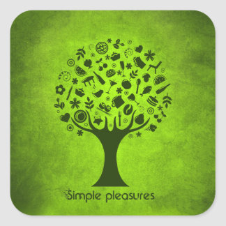 Simple Pleasures Tree Square Sticker