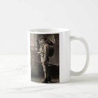Simple Pleasures Woodcut Boy Running Away Coffee Mug