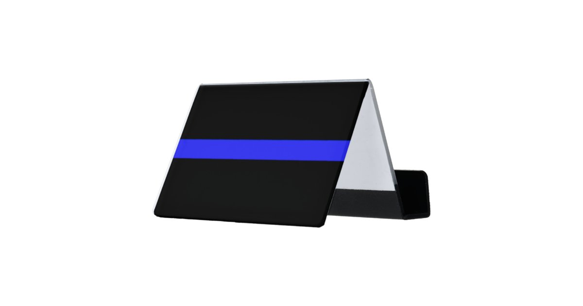 Simple Police Thin Blue Line Symbol Desk Business Card Holder   Zazzle