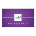Simple Polka Dot Pattern Monogram Purple Business Card Template