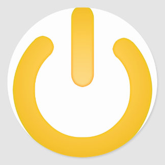 Simple Power Button Classic Round Sticker