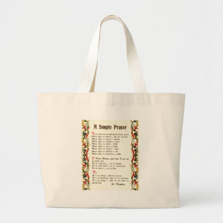 simple prayer by St. Francis of Assisi Large Tote Bag