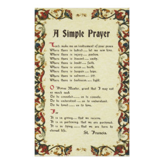 simple prayer=st. francis=pope francis=florentine poster