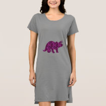 Simple Pretty Pink Dinosaur Print for Women Dress