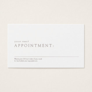 Simple Professional Appointment Reminder Business Card at Zazzle