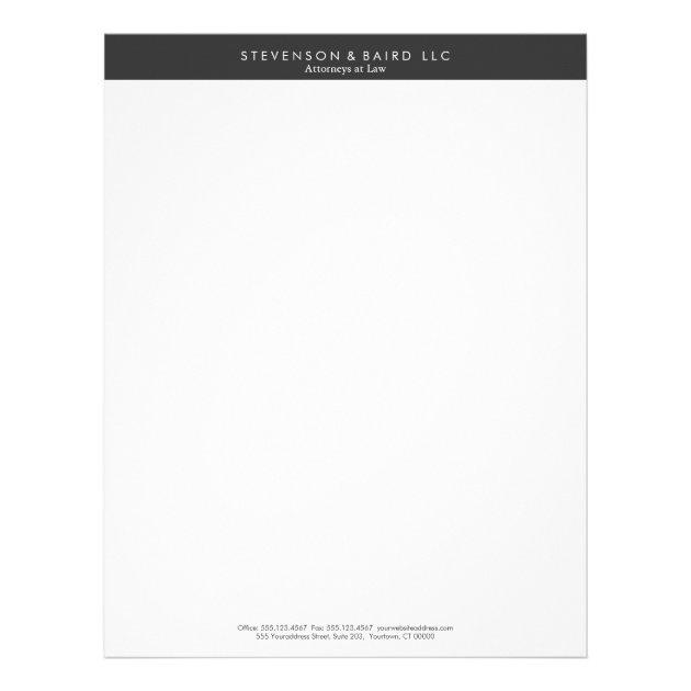 Simple Professional Black and White Letterhead | Zazzle