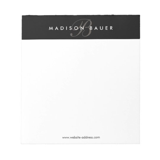 60a9bf9d4eac Simple Professional Black and White Monogram Notepad