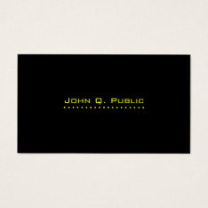Simple Professional Black Business Card at Zazzle