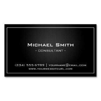 Simple Professional Black Metallic Modern Look Business Card Magnet