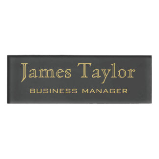 Simple Professional Gold Name Black Background Name Tag