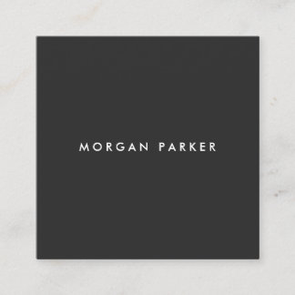 Simple Professional Modern Black Square Square Business Card