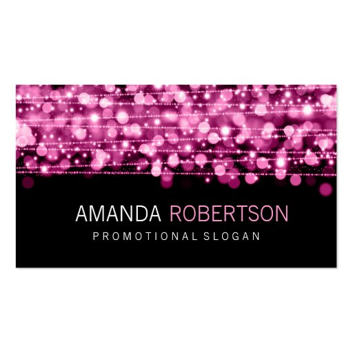 Simple Professional Pink Lights & Sparkles Business Cards