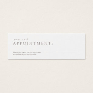 Appointment business cards templates zazzle simple professional white appointment reminder mini business card colourmoves Images