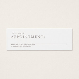 Simple Professional White Appointment Reminder Mini Business Card