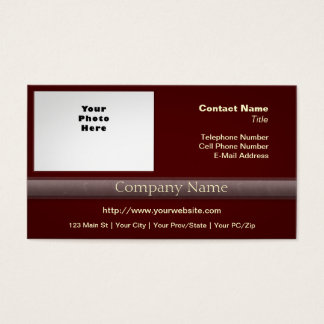Simple Professional with Photo or Logo Deep Red 2 Business Card