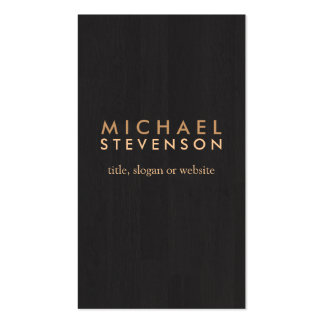 Simple Professional Wood Grain Look Black Double-Sided Standard Business Cards (Pack Of 100)