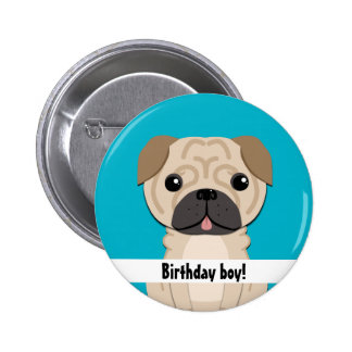 Simple pug Birthday boy Button
