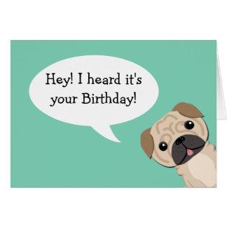 Simple Pug Birthday card