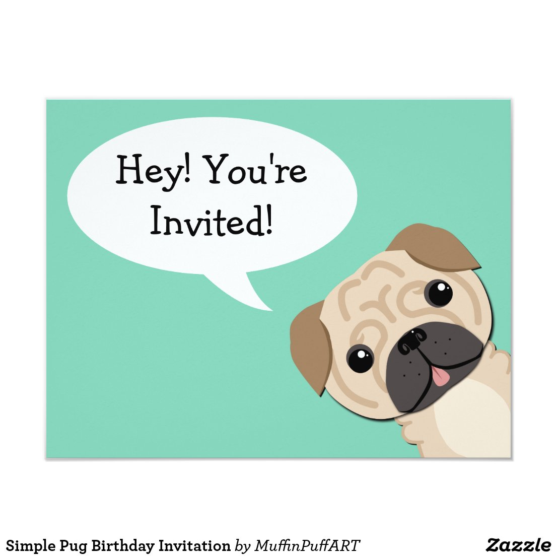 Simple Pug Birthday Invitation