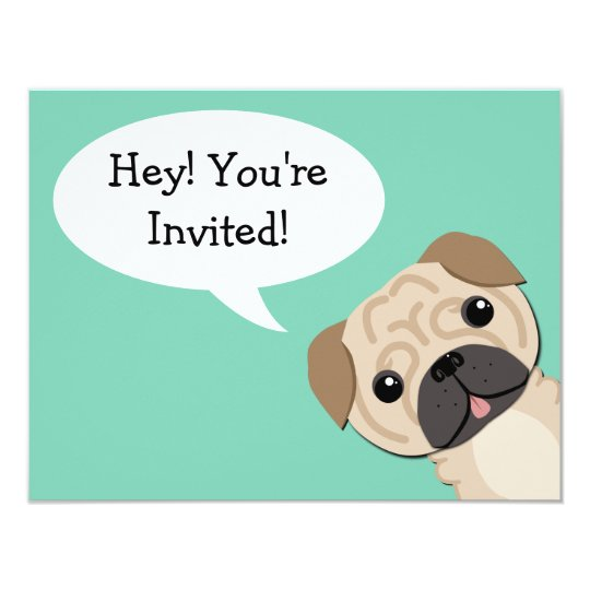 Simple Pug Birthday Invitation Zazzle Com