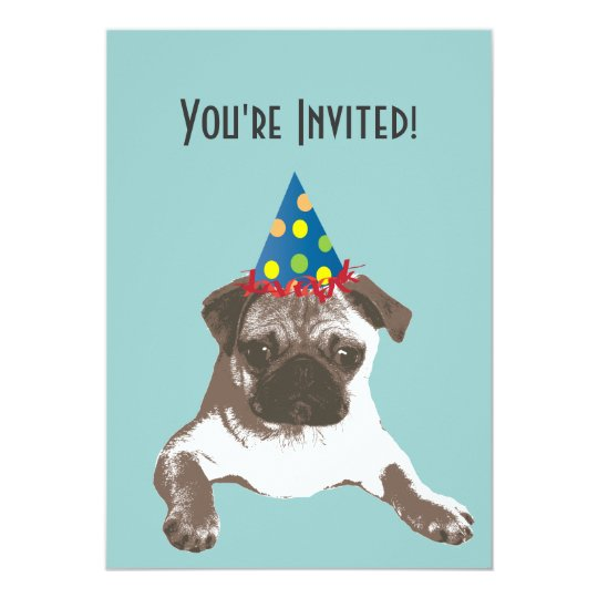 Simple Pug In Hat Birthday Party Invitation Zazzle Com