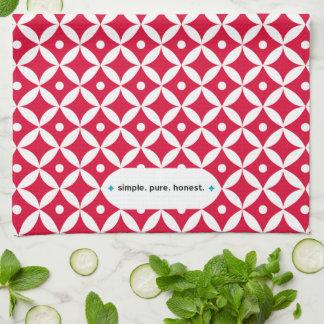 Simple. Puro. Honesto - toalla de cocina roja y bl