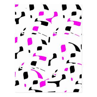 Simple purple, black and white design postcard