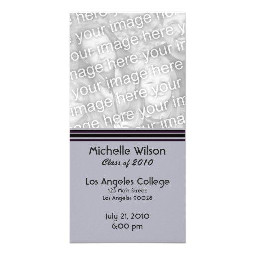 simple purple black graduation photo card template