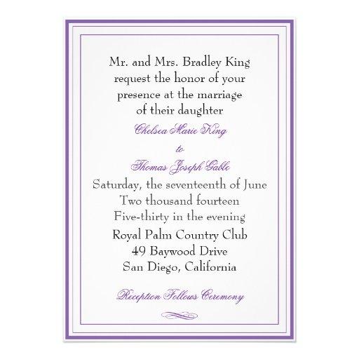 Personalized Purple border wedding Invitations