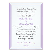 Simple Purple Border Wedding Invitation