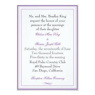 Simple Purple Border Wedding Invitation
