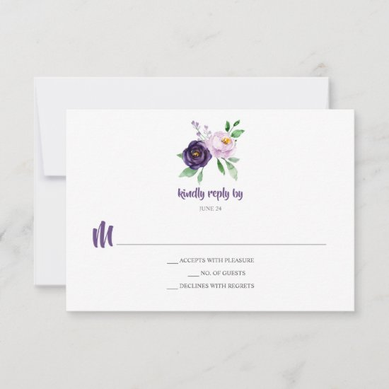 Simple Purple Lavender Watercolor Flowers RSVP