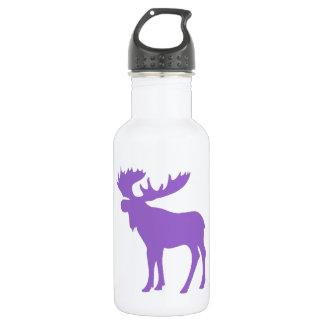 Simple purple moose symbol stainless steel water bottle