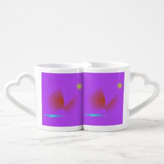 Simple Purple Music Coffee Mug Set