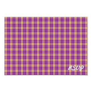 """Simple Purple Paid Pattern RSVP Invitation 3.5"""" X 5"""" Invitation Card"""
