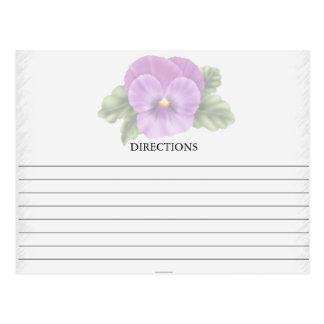 Simple Purple Pansy Recipe Cards
