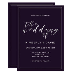 Simple Purple and Silver Wedding Card