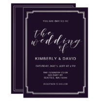 Simple Purple Silver Wedding Card