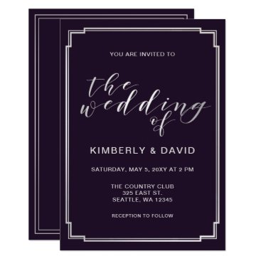 Simple Purple Silver Wedding Card