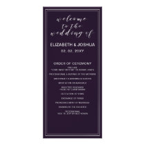 Simple Purple Silver Wedding programs