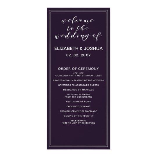 Simple Purple Silver Wedding programs Zazzlecom