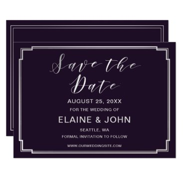 Simple Purple silver Wedding save the dates Card