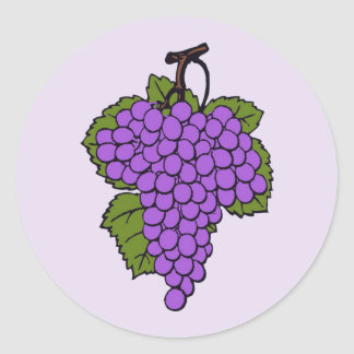 Simple Purple Vineyard Grapes on Lavender or White Classic Round Sticker