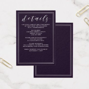 Simple Purple Wedding details card