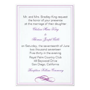 Simple Purple Wedding Invitation
