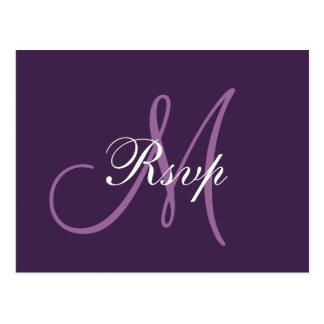 Simple Purple Wedding Monogram RSVP Postcard
