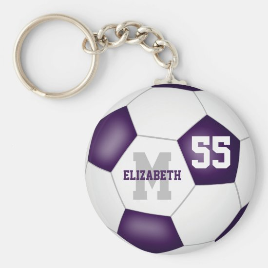 simple purple white team colors girls boys soccer keychain