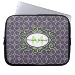 Simple Quatrefoil Pattern in Purple and Lime Green Computer Sleeve