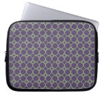Simple Quatrefoil Pattern in Purple and Lime Green Laptop Sleeve